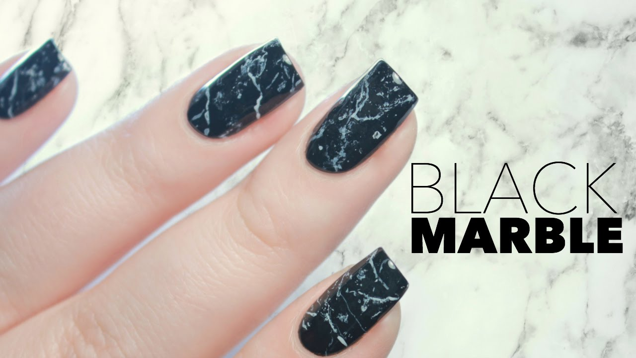 black stone marble nails in