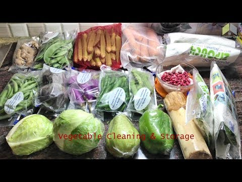 Kitchen Tricks   Cleaning & Storing Vegetable in Fridge   Cleaning & storing vegetables in Tamil