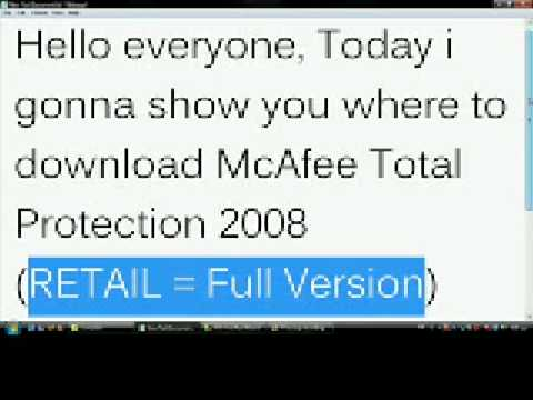 Download McAfee Total Protection 2008 full version free!!!