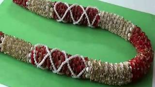 Wedding Garland making with tissue ribbon and pearls tutorial video