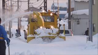 【除雪作業】えちぜん鉄道・ロータリー車 2台による排雪作業 えちぜん鉄道 西春江駅 2018年2月9日