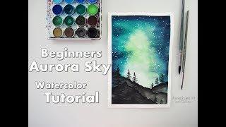 Beginners Aurora Sky Watercolor Painting Tutorial ♡ Maremi's Small Art ♡