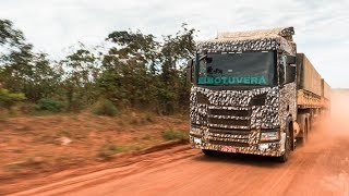 Driving a new Scania R 500 in rugged Mato Grosso, Brazil