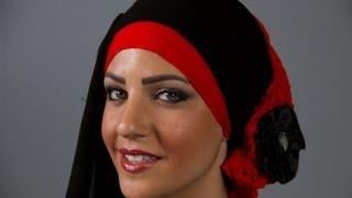 موديلات حجاب 2013  مع حجاب الحب بالأسود والأحمر