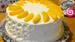 Бисквитный торт с персиками и сметанным кремом