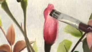 Pintura em tela para iniciantes - como pintar rosas e folhas completo