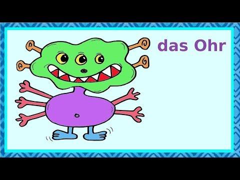 Deutsch lernen: Wir malen ein Monster –  Körperteile, Zahlen und Farben lernen