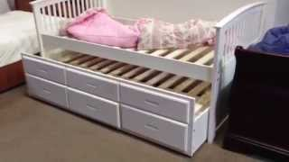 Bella Mission White Twin Bed W/ Trundle  Id7035