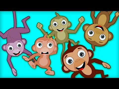 Five Little Monkeys | Kids Songs and Nursery Rhymes by HooplaKidz