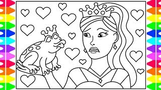 How to Draw a PRINCESS Step by Step for Kids| PRINCESS PRINCE FROG Coloring| Valentines Day for Kids