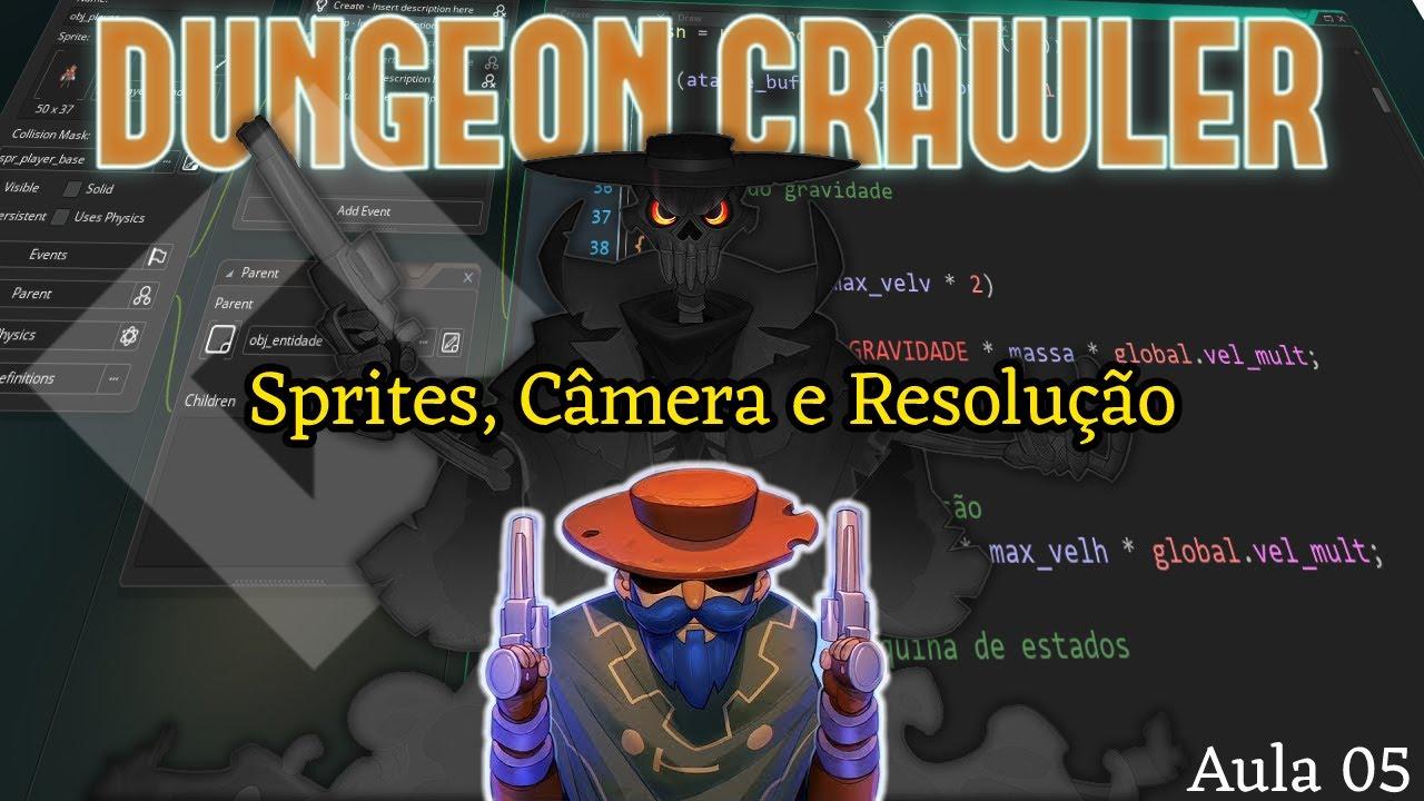 Tutorial Dungeon Crawler #05 - Sprites, câmera e resolução do jogo - Game Maker Studio 2