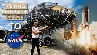 flying-embraer-e195-e2-jet-to-nasa-space-center