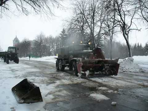 Old vintage soviet snow blower D-470 on ZIL-157 truck chasses