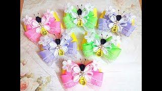 Нарядные резинки бантики пчелки из лент канзаши (часть 2)МК / hair clips ribbon kanzashi DIY