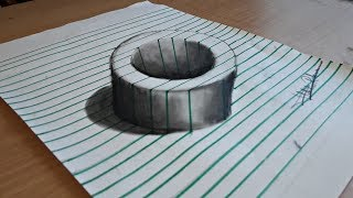 How To draw 3D Hole On Line Paper Easy Step By Step