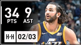 Ricky Rubio Full Career-HIGH Highlights Jazz vs Spurs (2018.02.03) - 34 Points, 9 Assists, SICK!