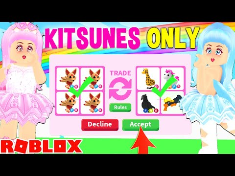 We ONLY TRADED The *NEW* KITSUNE PET FOR 24 HOURS In Adopt Me... Roblox Adopt Me Trade Challenge