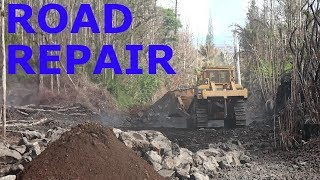 Kilauea Lava Eruption Aftermath Leilani Estates Road Repair October 10th 2018