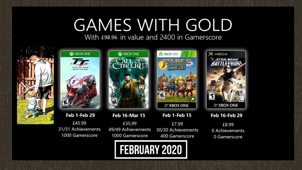 Xbox Games With Gold Februar