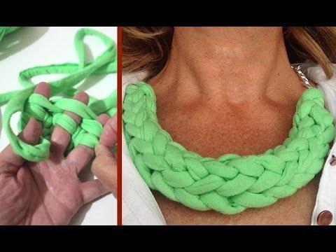 C mo hacer collar f cil de trapillo finger t shirt yarn - Cosas de trapillo faciles ...