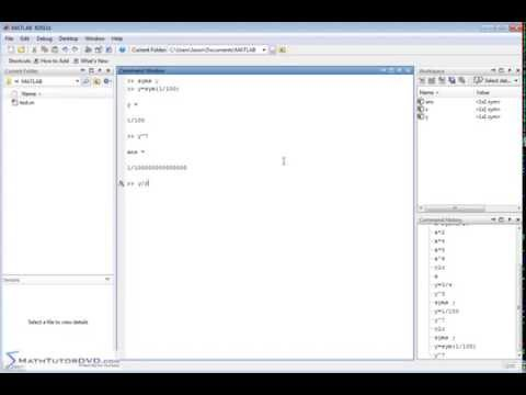 Matlab Tutorial - Creating and Storing Values in Symbolic Variables
