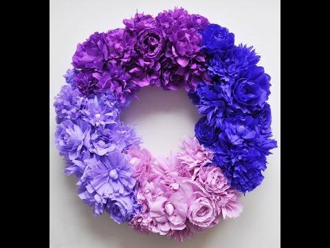 Как сделать венок с цветами из гофрированной бумаги на голову 97