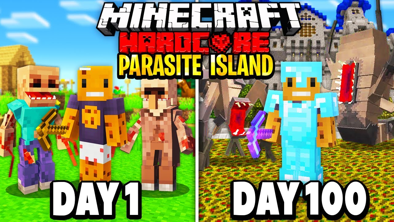 We Survived 100 Days in a Deserted Parasite Island in Hardcore Minecraft... Here's What Happened