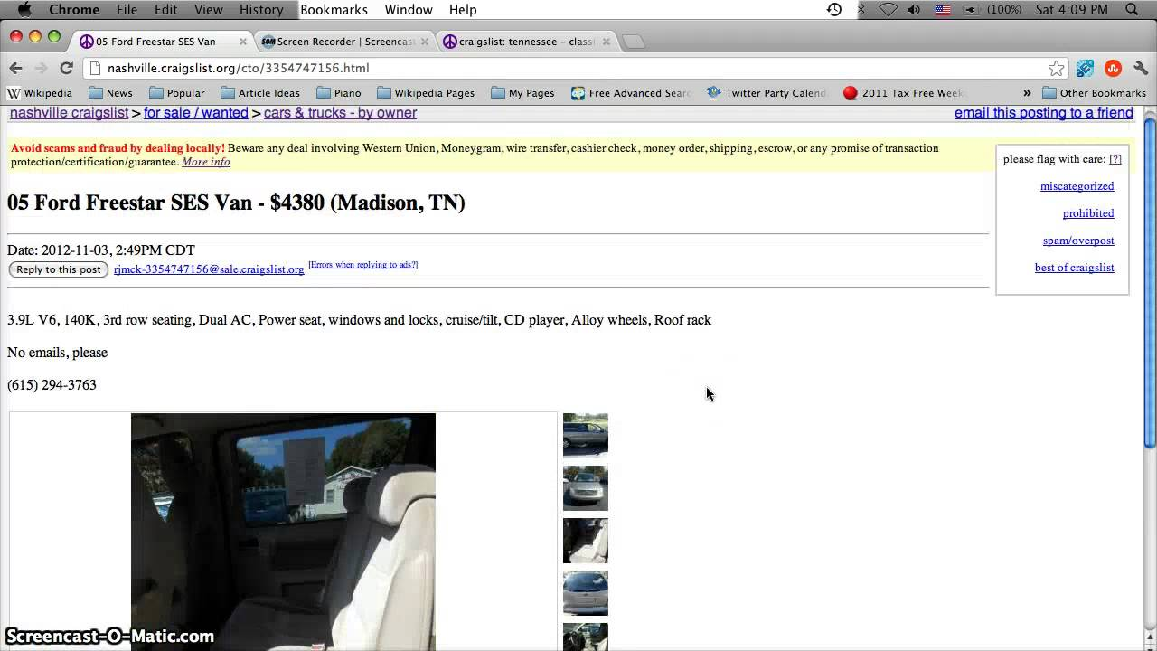 Craigslist Nashville Tennessee Used Cars And Vans For Sale By Owner Prices Below 1000 Youtube