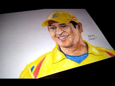 MS Dhoni - CSK Drawing with Color Pencil