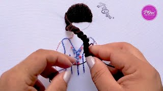 Cómo Bordar Cabello con un Peinado Elegante   Hair Embroidery Design