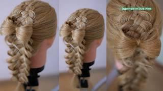 Многопрядная коса + Бантик из волос  Причёска  Hair tutorial