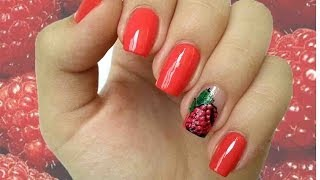рисуем МАЛИНУ акриловыми красками/яркий летний дизайн summer 2014 nail art