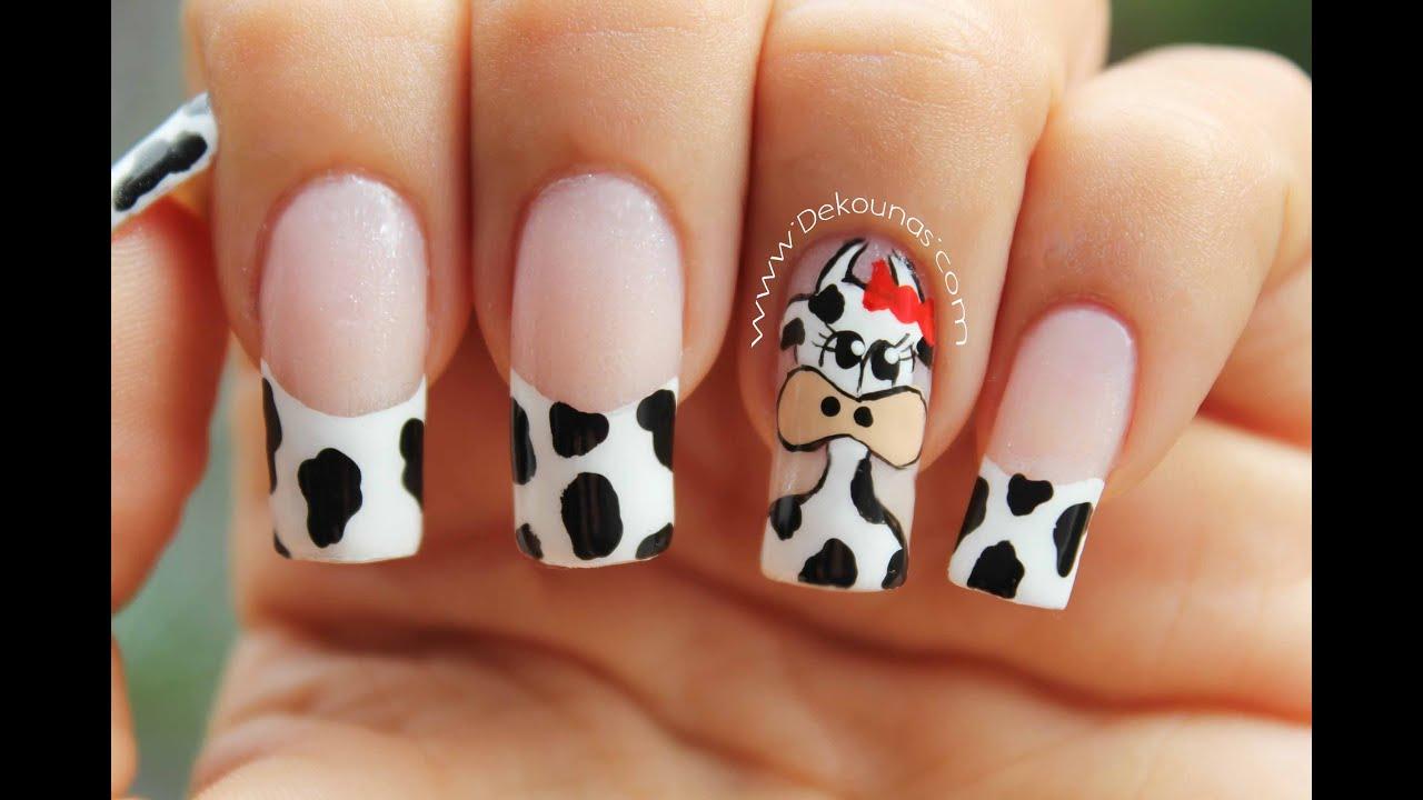 Decoración De Uñas Vaca Cow Nail Art Youtube