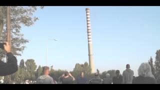 Burzenie Komina 30.08.2015 Trasa Górna ul.Demokratyczna Łódź