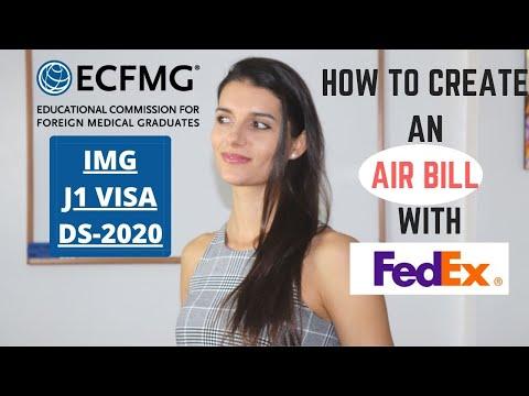 How To Create An AIR BILL With FEDEX ~ECFMG~J1 Visa~DS-2020, With Dr. Aksiniya