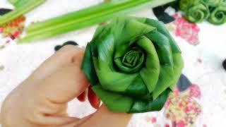 วิธีพับดอกกุหลาบจากใบเตย | ใบเตยพับเป็นดอกกุหลาบ