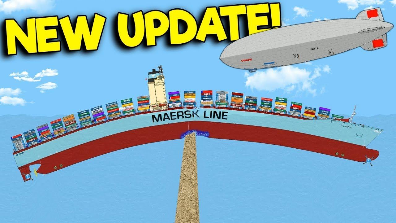 SINKING THE NEW CARGO SHIP & HINDENBURG! - Floating Sandbox Simulator  Update Gameplay