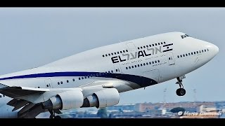 EL AL Boeing 747-458 very short takeoff from Rome FCO