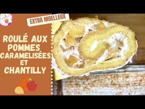 roulé-aux-pommes-caramélisées-et-chantilly-🍎-ultra-moelleux