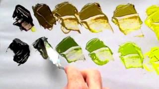 Belajar-membuat-warna-hijau-dengan-cat-acrylic-How to-mix-green-color