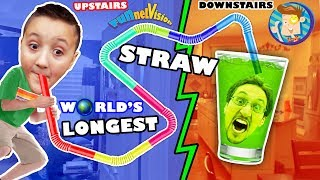 LAZY KID BUILDS WORLD'S LARGEST DRINKING STRAW! No Exercise 4 Us! FUNnel Vision Project Vlog
