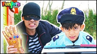 Funny Kids Police Protects Magic Infinity Gauntlet