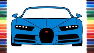 How to draw a car Bugatti Chiron 2017 front view
