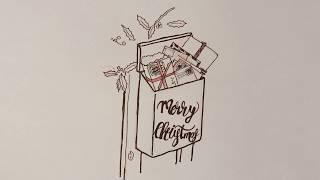 draw Christmas mailbox