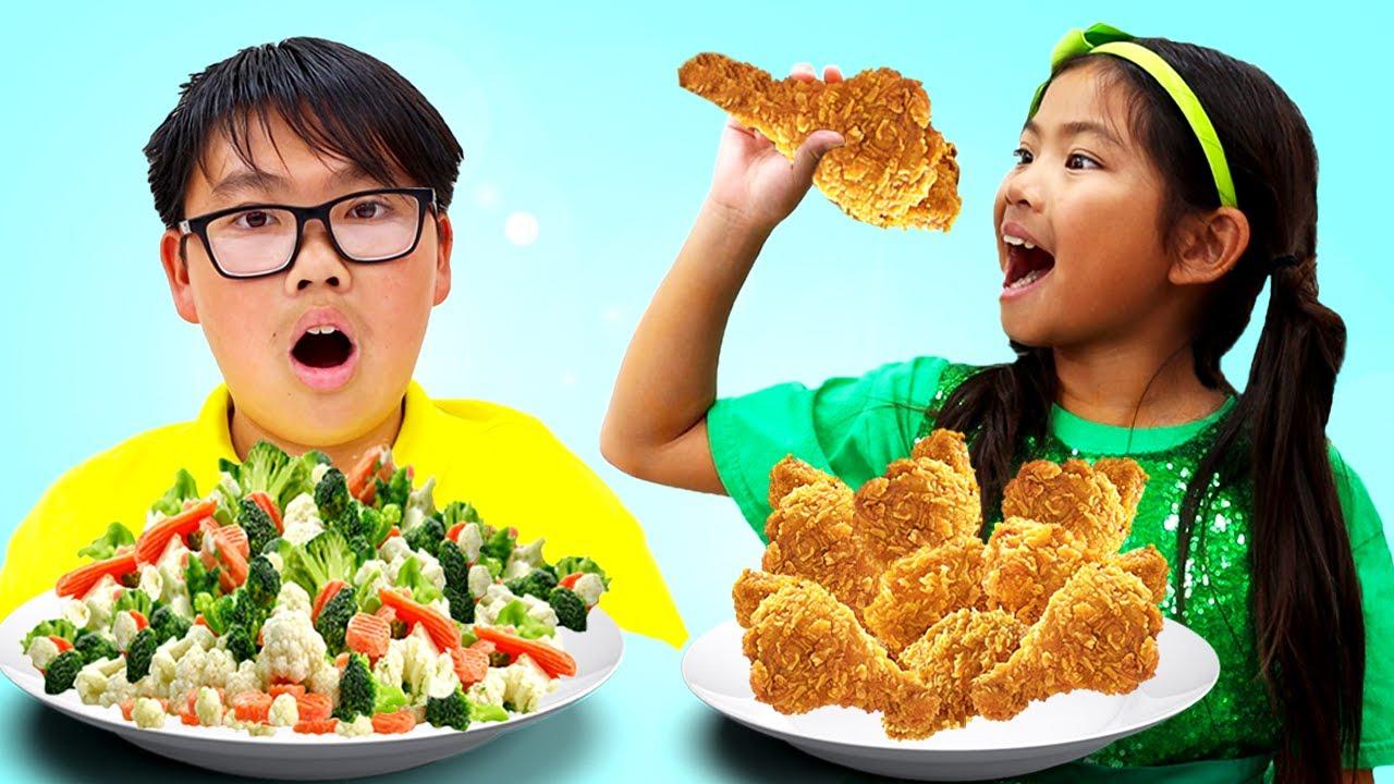 Eat Healthy Food Song   Nursery Rhymes and Kids Songs Sing-along Emma Pretend Play