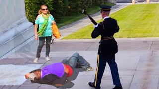 he tried to mess with a guard of the tomb of the unknown soldier.. (BIG MISTAKE)