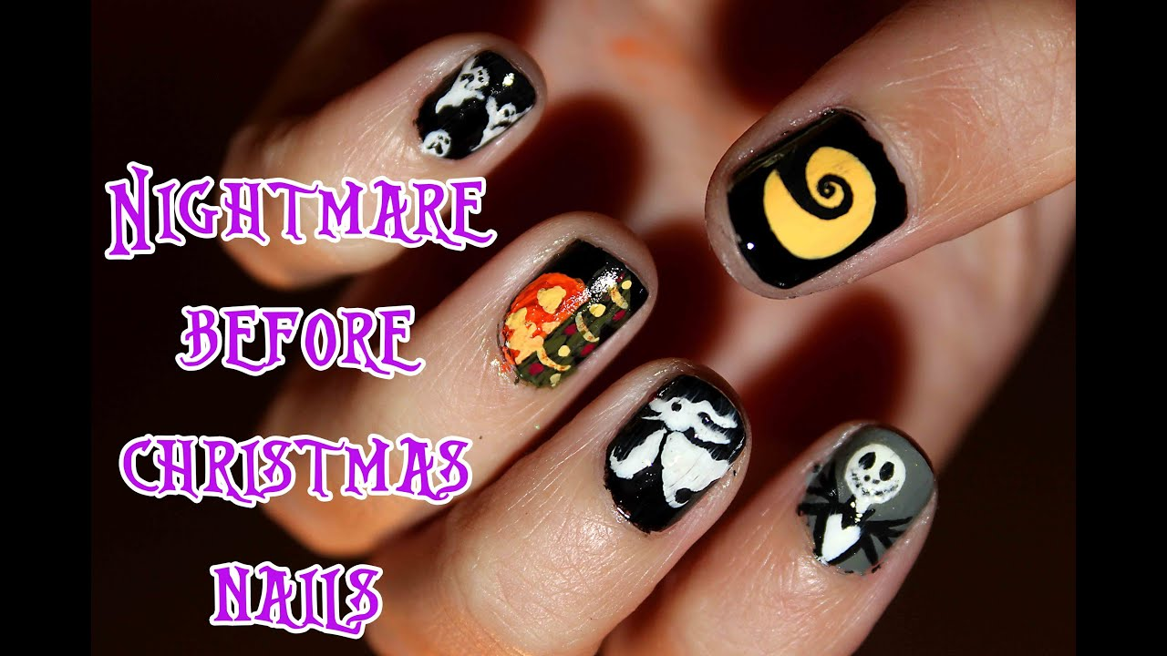 The Nightmare Before Christmas Inspired Nails - YouTube