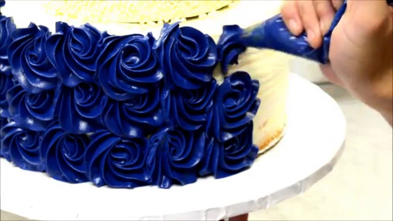 Blue Rosette Wedding Cake Tutorial How To Video Youtube