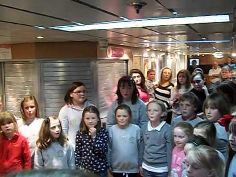Bowmore+Pt Ellen junior choirs on ferry home,Mod 2012