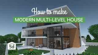 Modern multi-level house by Planner 5D MAC app